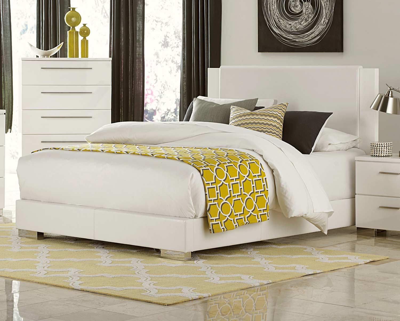 Homelegance Linnea Upholstered Bed - High-Gloss White