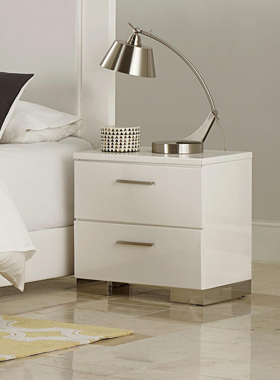 Homelegance Linnea Night Stand - High-Gloss White