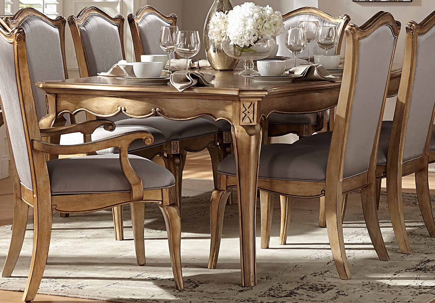 Gold Dining Tables ~ Homelegance chambord dining set antique gold