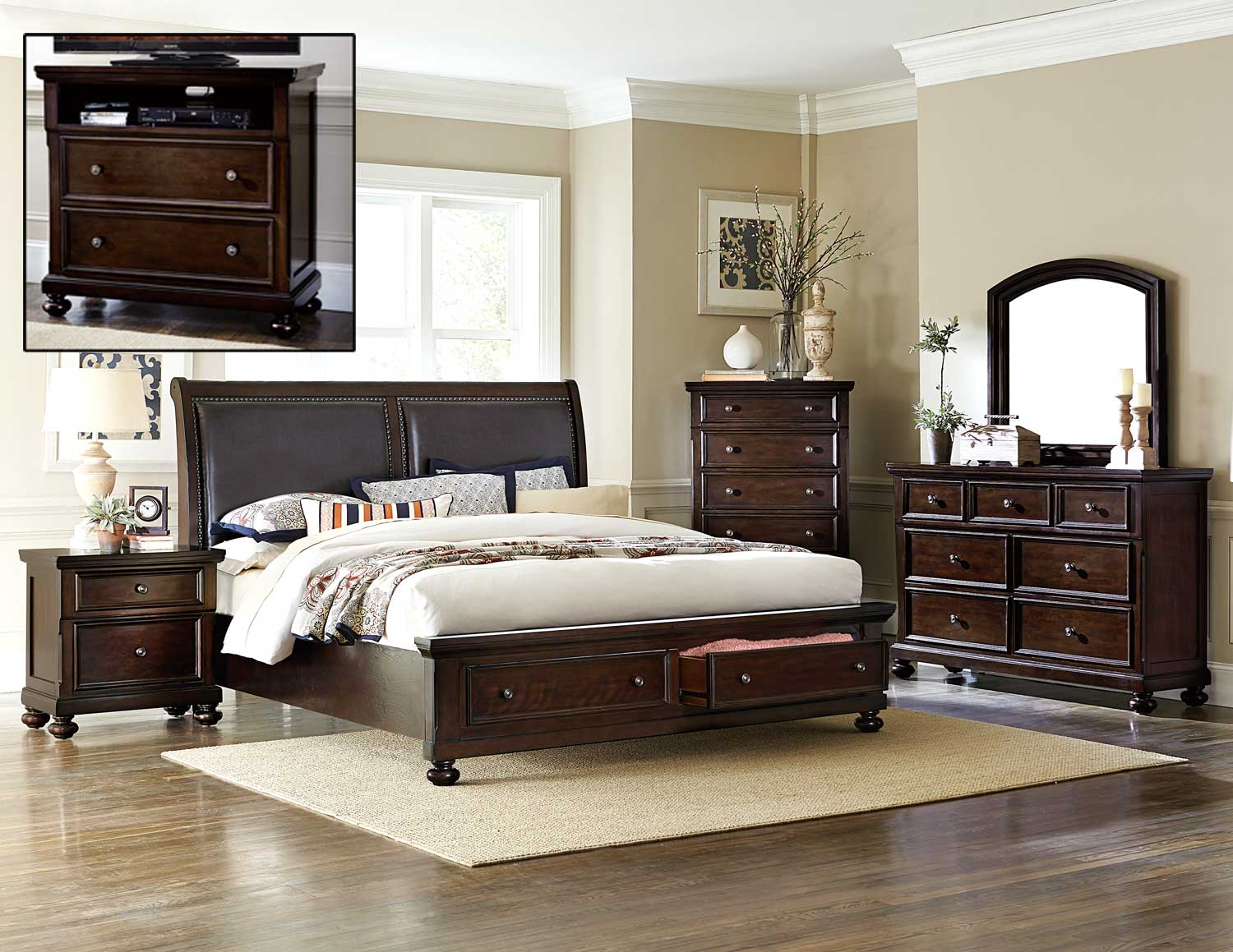 Homelegance Faust Bedroom Set Dark Cherry 1834 BEDROOM SET