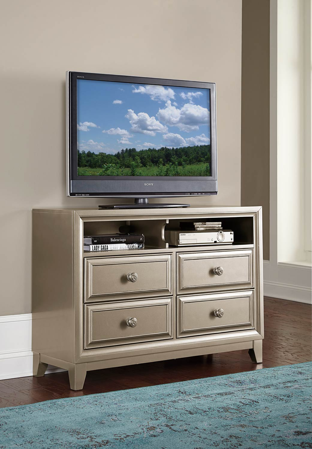 Homelegance Hedy TV Chest - Silver