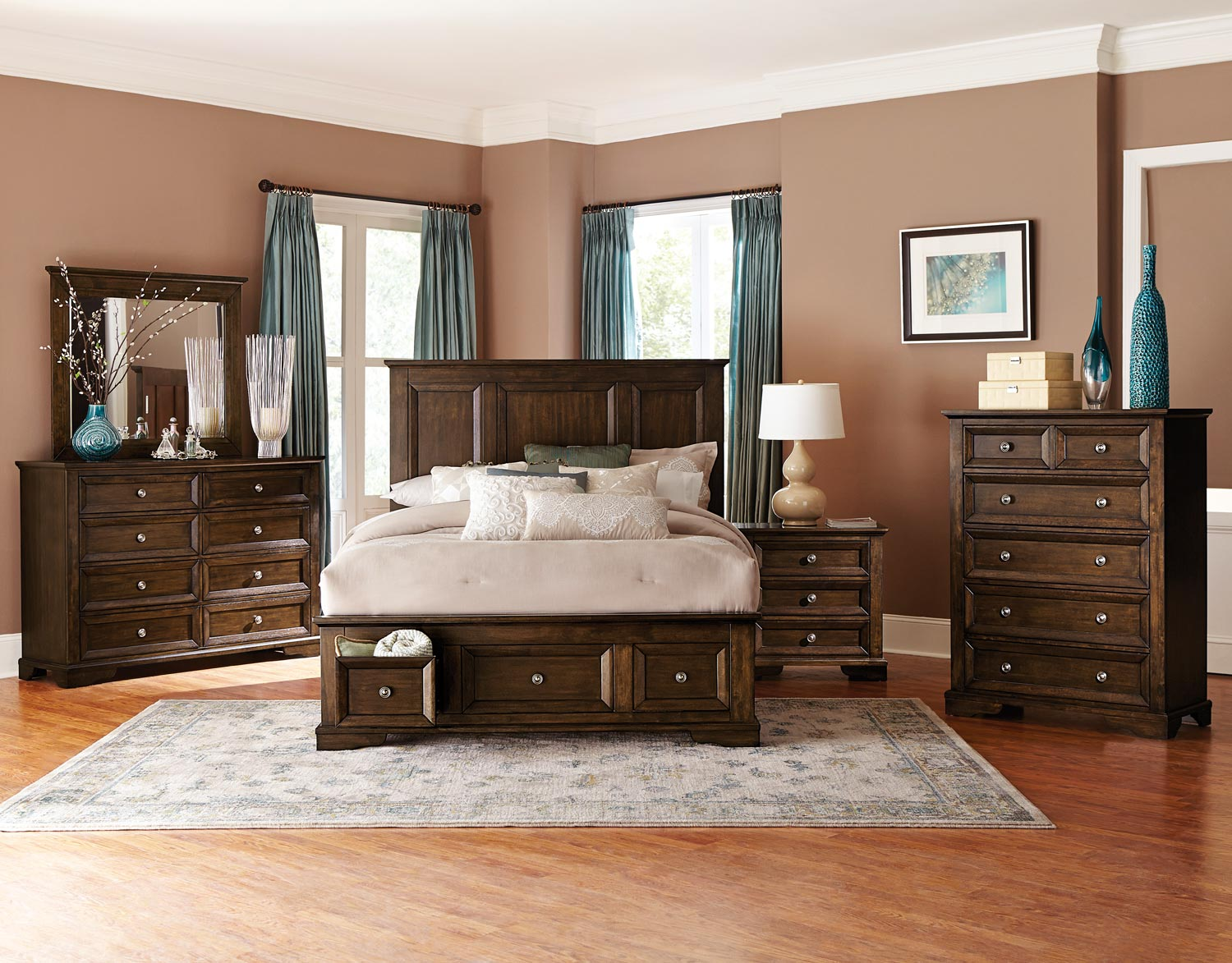 Homelegance Eunice Platform Storage Bedroom Set - Espresso