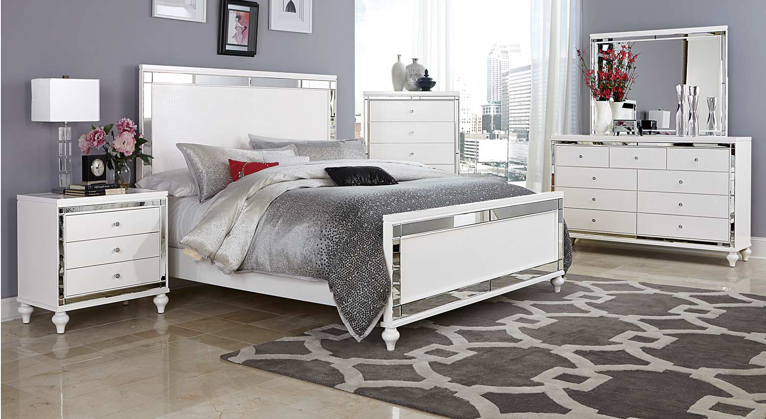 Homelegance alonza bedroom set white 1845 bedroom set for Elegant white bedroom furniture
