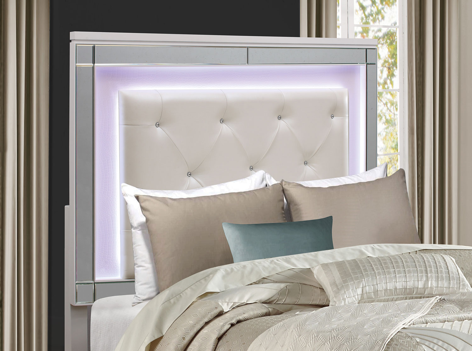 Homelegance Alonza Bedroom Set with LED Lighting - Brilliant White ...