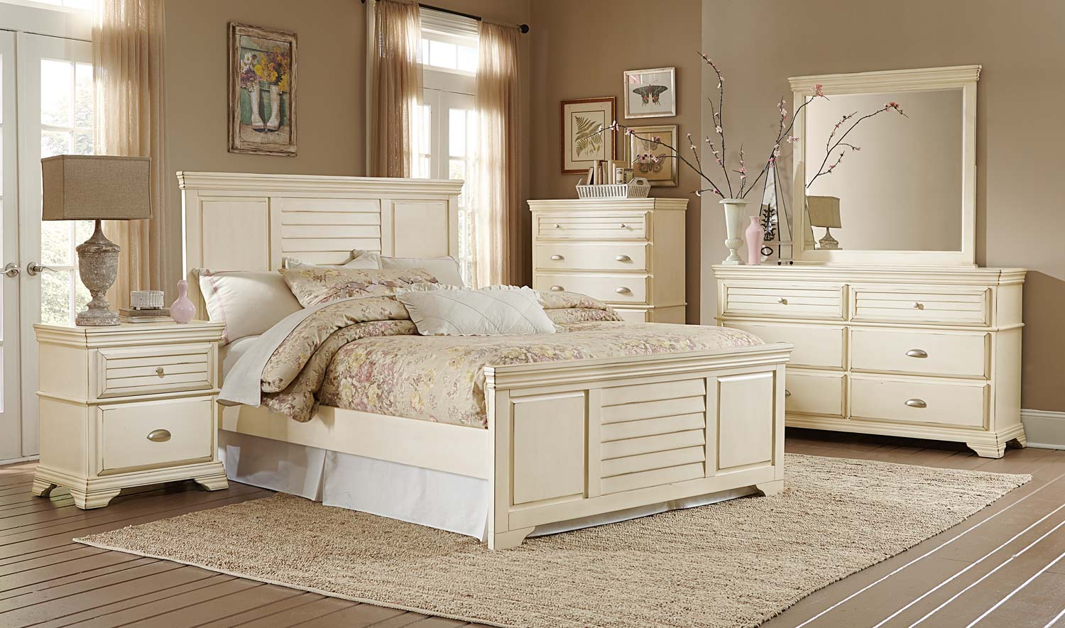 Homelegance laurinda bedroom set antique white 1846 for H plan bedroom furniture