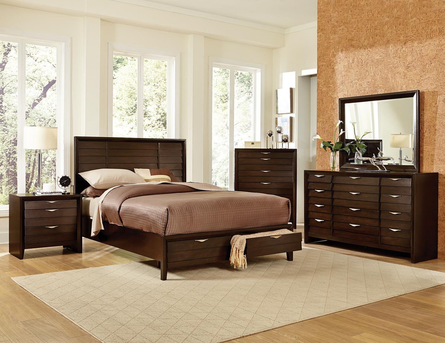 Bedroom Sets Espresso homelegance arezzo platform storage bedroom set - espresso b1849-1