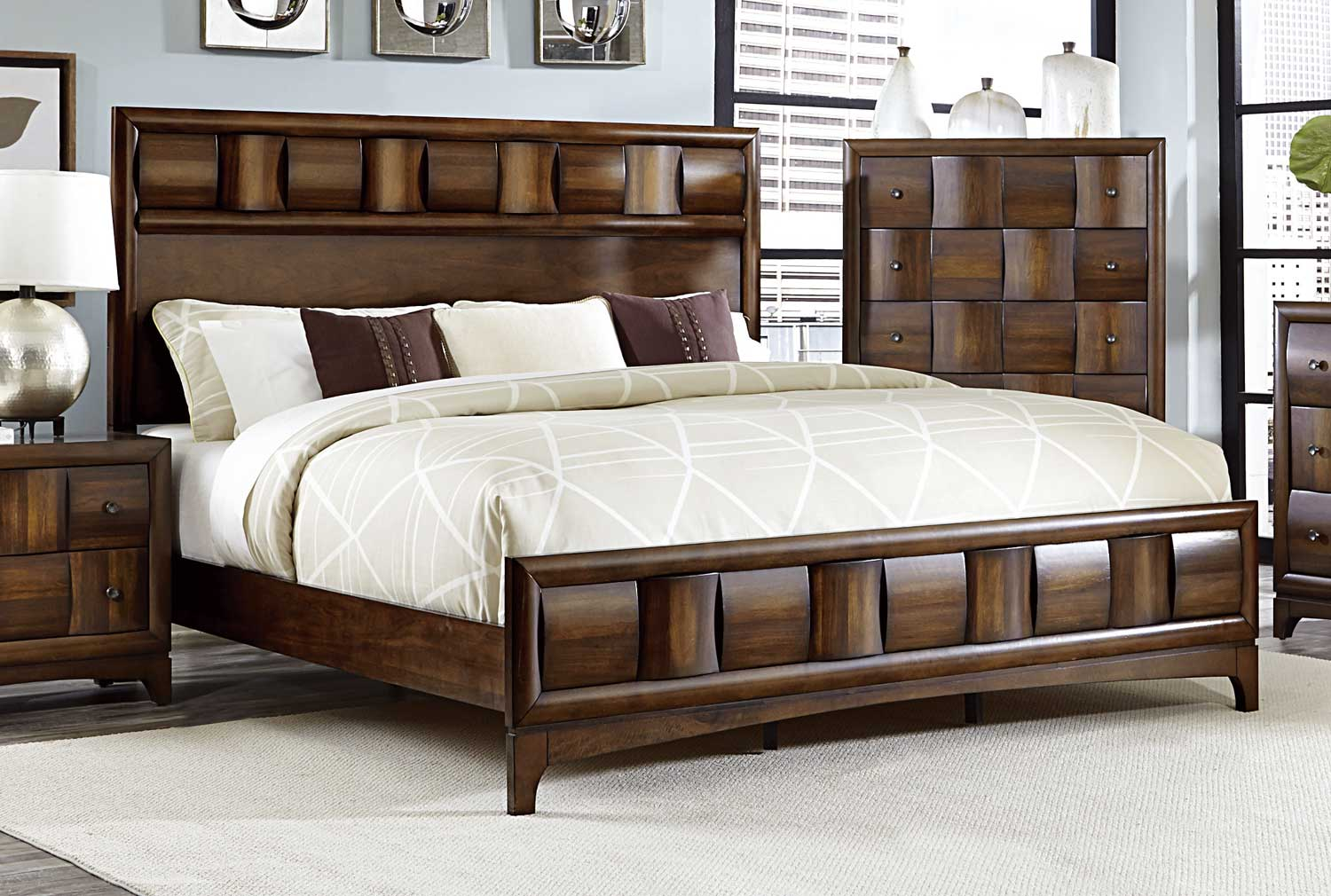 Homelegance porter bed warm walnut 1852 1 for Furniture xchange new jersey