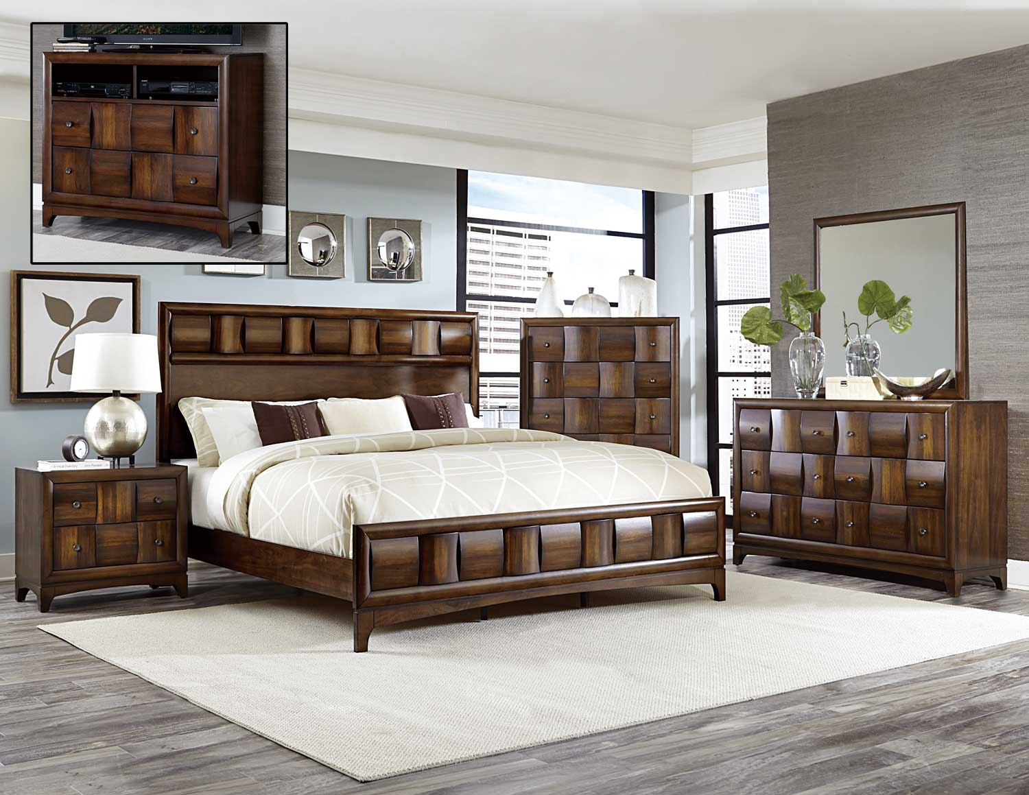 Homelegance Porter Bedroom Set Warm Walnut 1852 Bedroom Set