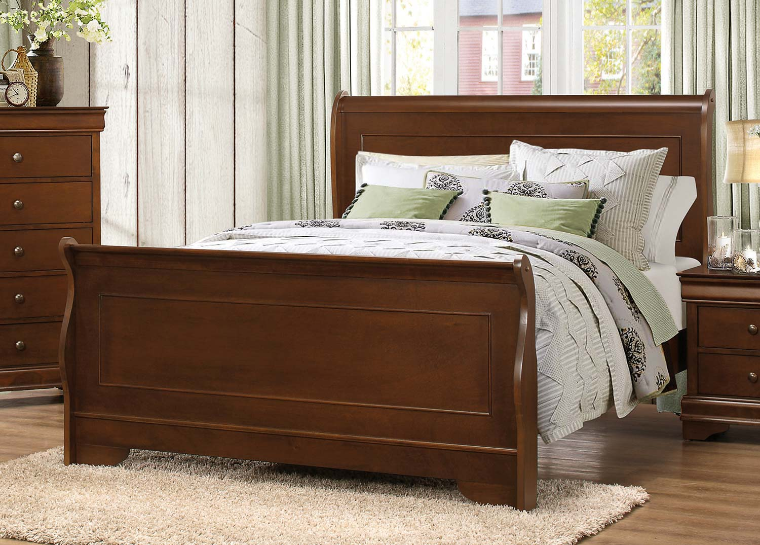 Homelegance Abbeville Sleigh Bed - Brown Cherry