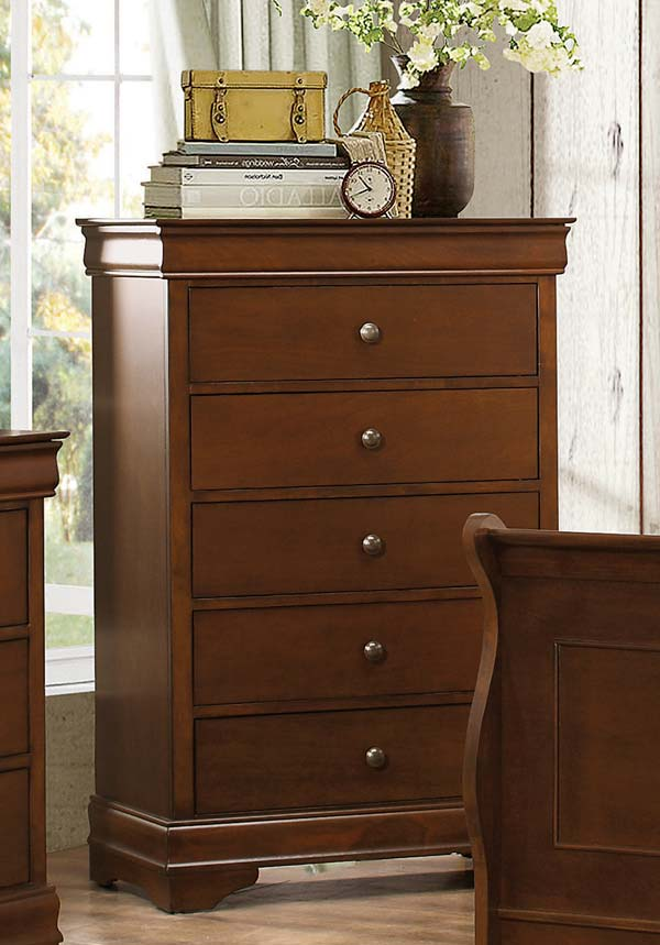 Homelegance Abbeville Chest - Hidden Drawer - Brown Cherry