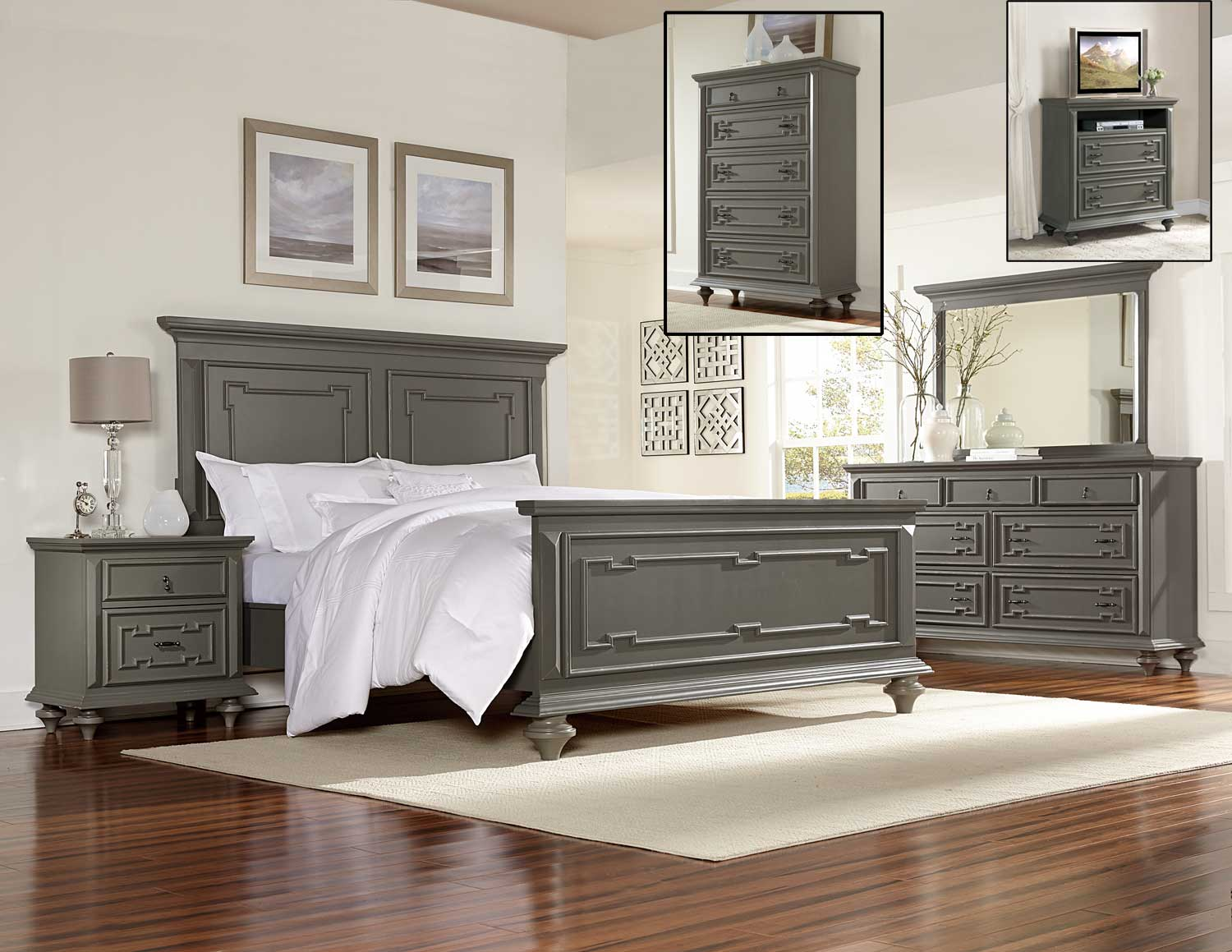 Homelegance marceline bedroom set grey 1866 bedroom set for Gray bedroom furniture sets