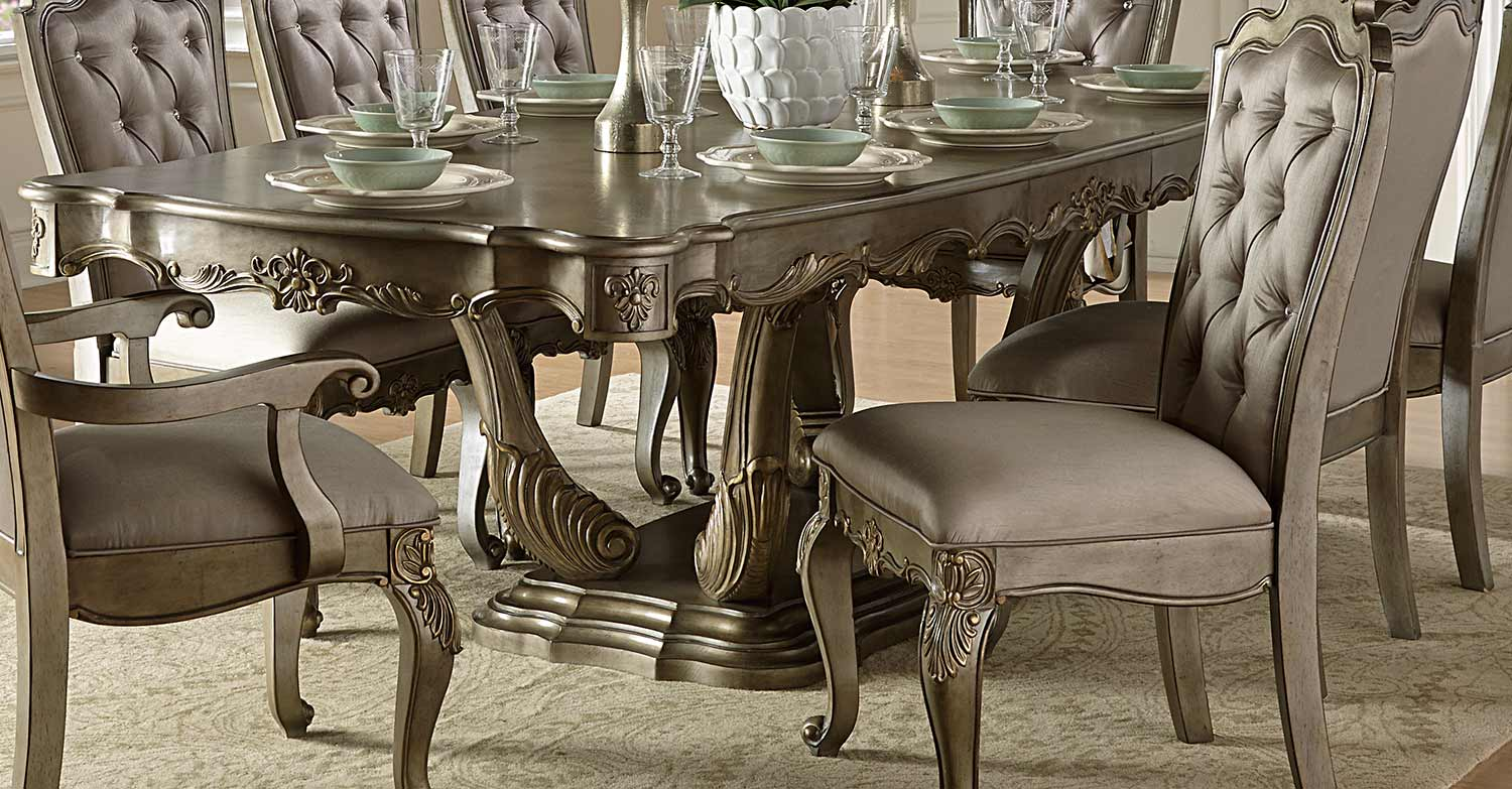 Homelegance florentina dining set silver gold 1867 dining set - Silver dining table and chairs ...