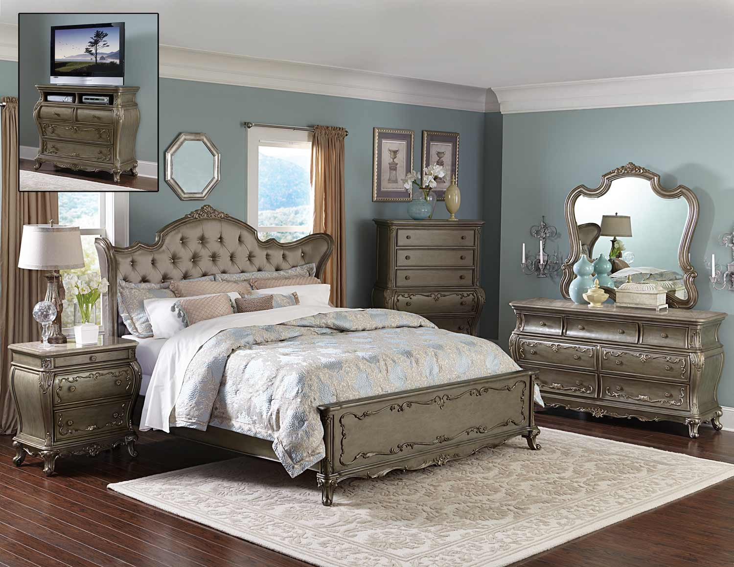 homelegance florentina bedroom set silver gold 1867 bedroom set. Black Bedroom Furniture Sets. Home Design Ideas