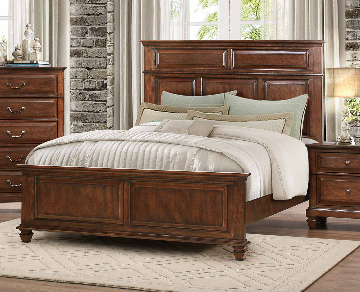 Homelegance Bardwell Panel Bed   Brown Cherry