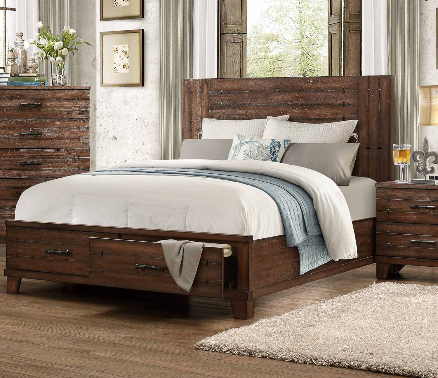 Homelegance Brazoria Bedroom Set Distressed Natural Wood 1877 Bedroom Set