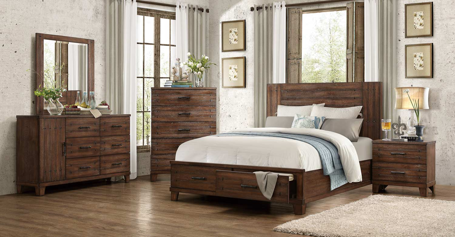 Homelegance Brazoria Bedroom Set - Distressed Natural Wood 1877 ...