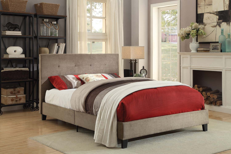 Homelegance Brice Upholstered Platform Bed - Brown