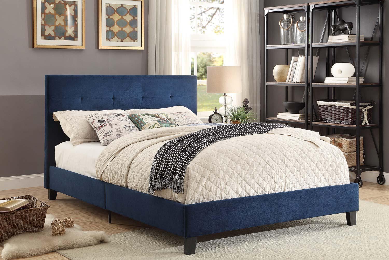 Homelegance Brice Upholstered Platform Bed - Blue