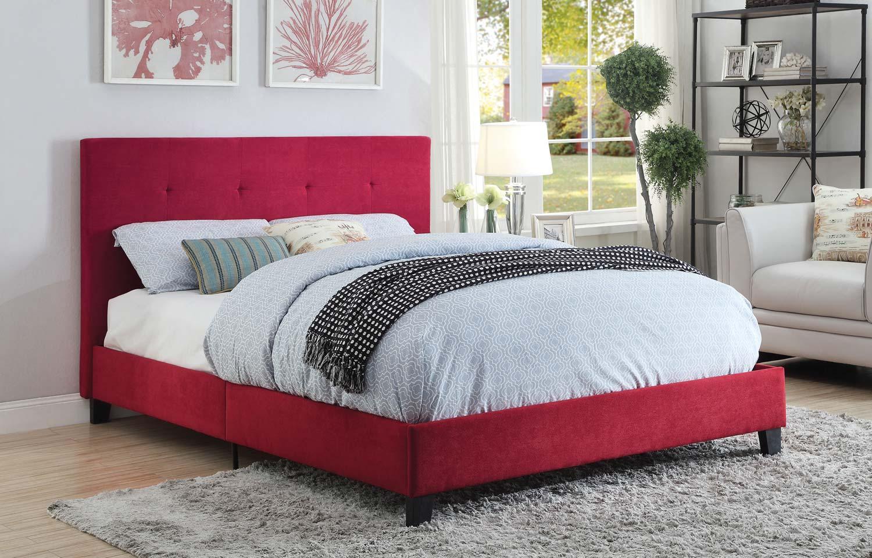 Homelegance Brice Upholstered Platform Bed - Red