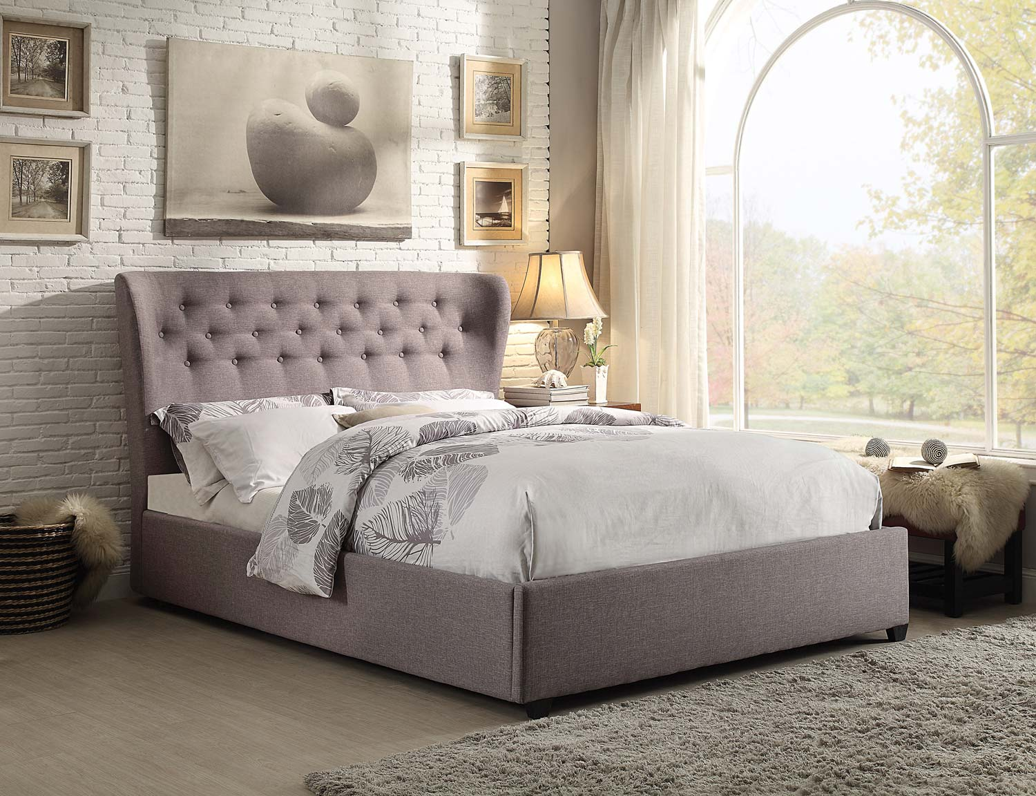 Homelegance Wade Upholstered Wing Bed - Grey