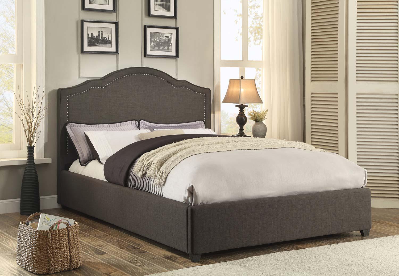 Homelegance Zaira Upholstered Bed - Dark Grey