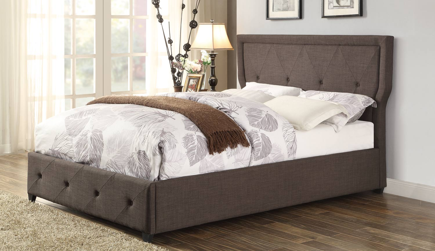 Homelegance Thain Upholstered Bed - Dark Grey