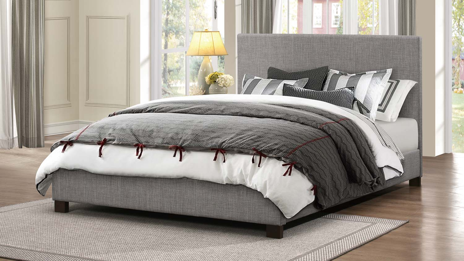 Homelegance Chasin Upholstered Platform Bed - Grey