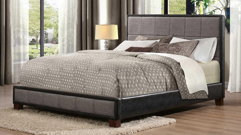 Homelegance Quinton Upholstered Platform Bed - Grey & Black Bi-Cast Vinyl
