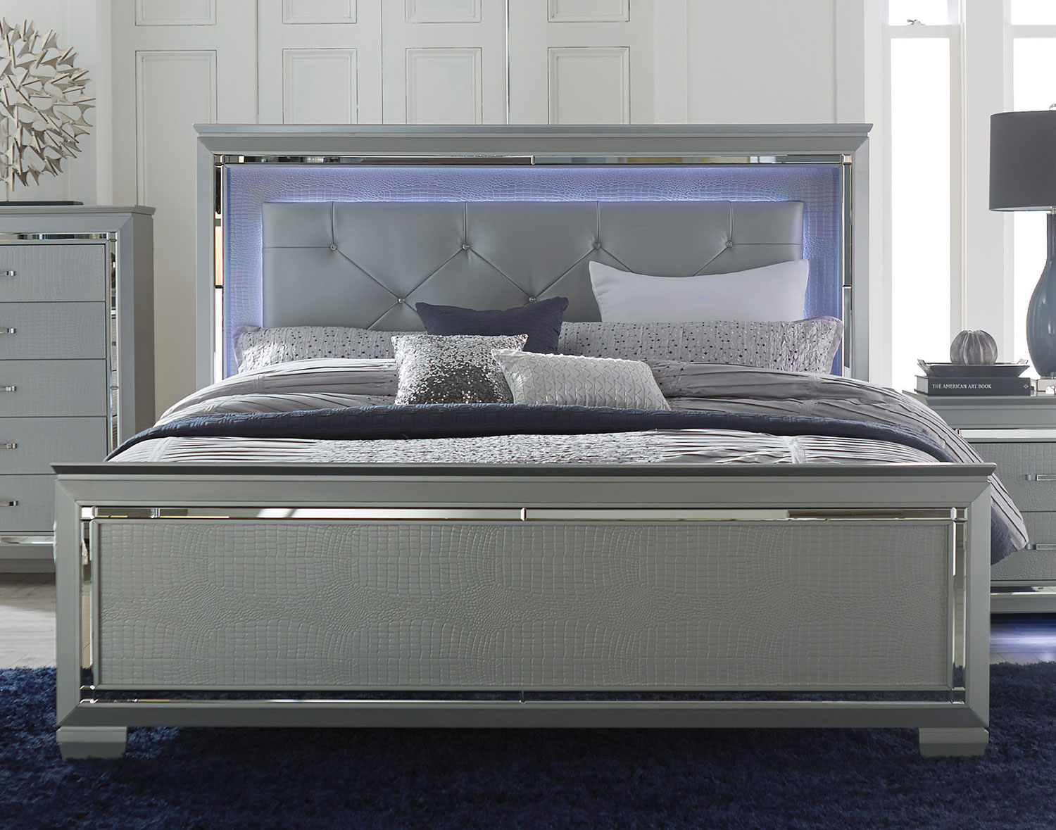 Homelegance allura bedroom set with led lighting silver for Bedroom set and mattress