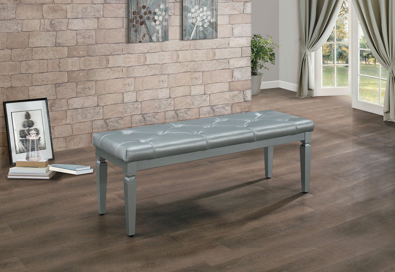 Homelegance Allura Bed Bench - Silver