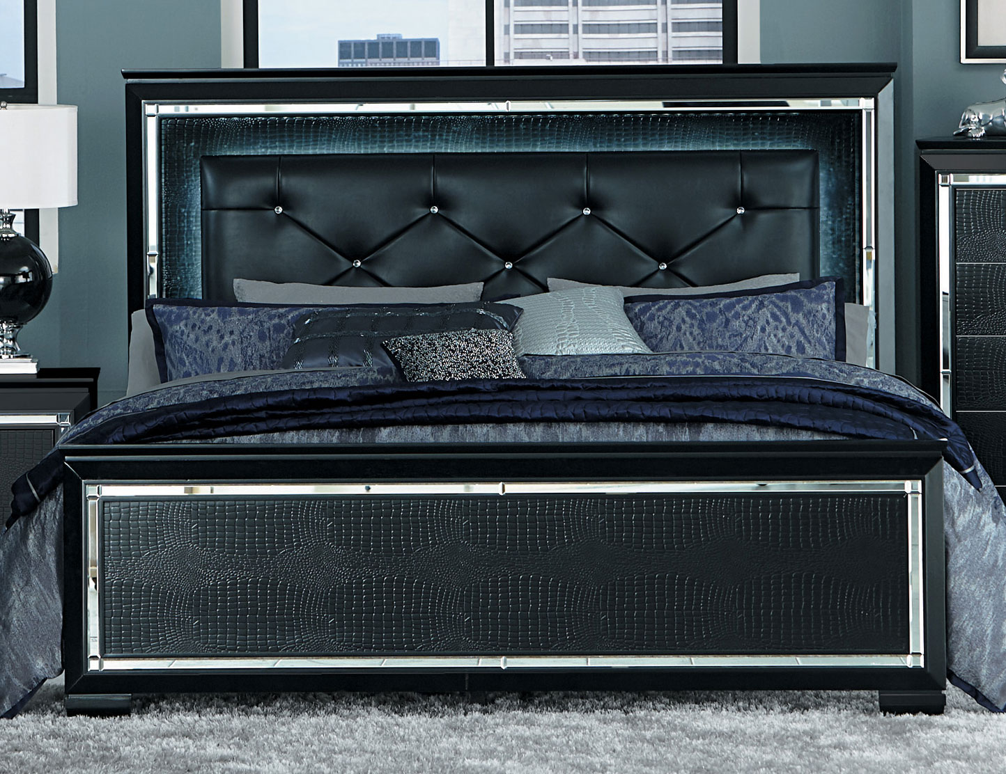 Homelegance Allura Bed with LED Lighting - Black