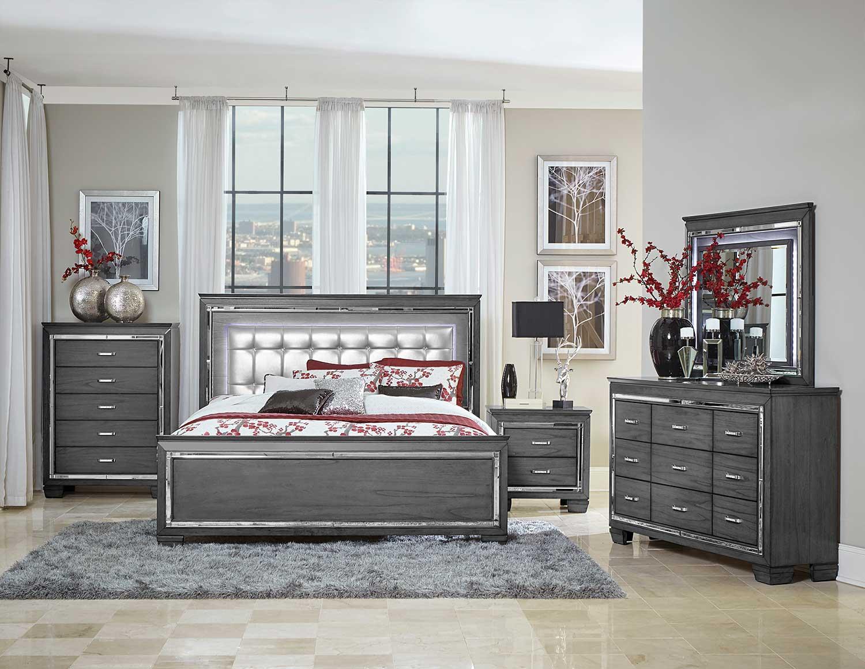 Homelegance Allura Bedroom Set with LED Lighting - Gray