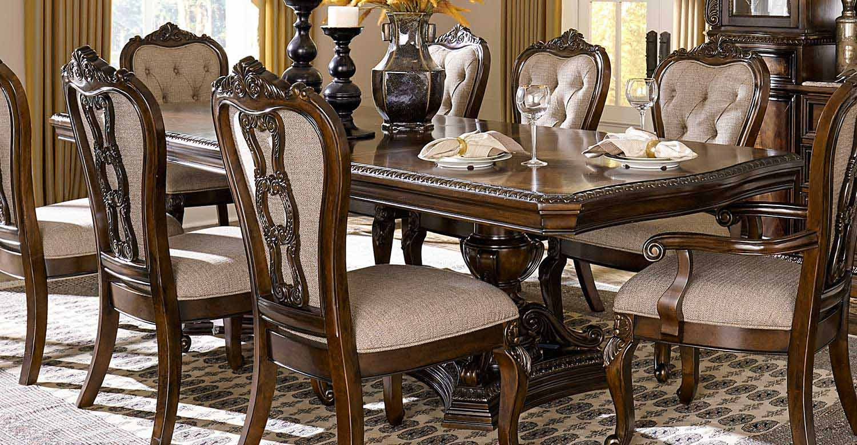 Homelegance Bonaventure Park Double Pedestal Dining Table - Gold-Highlighted Cherry