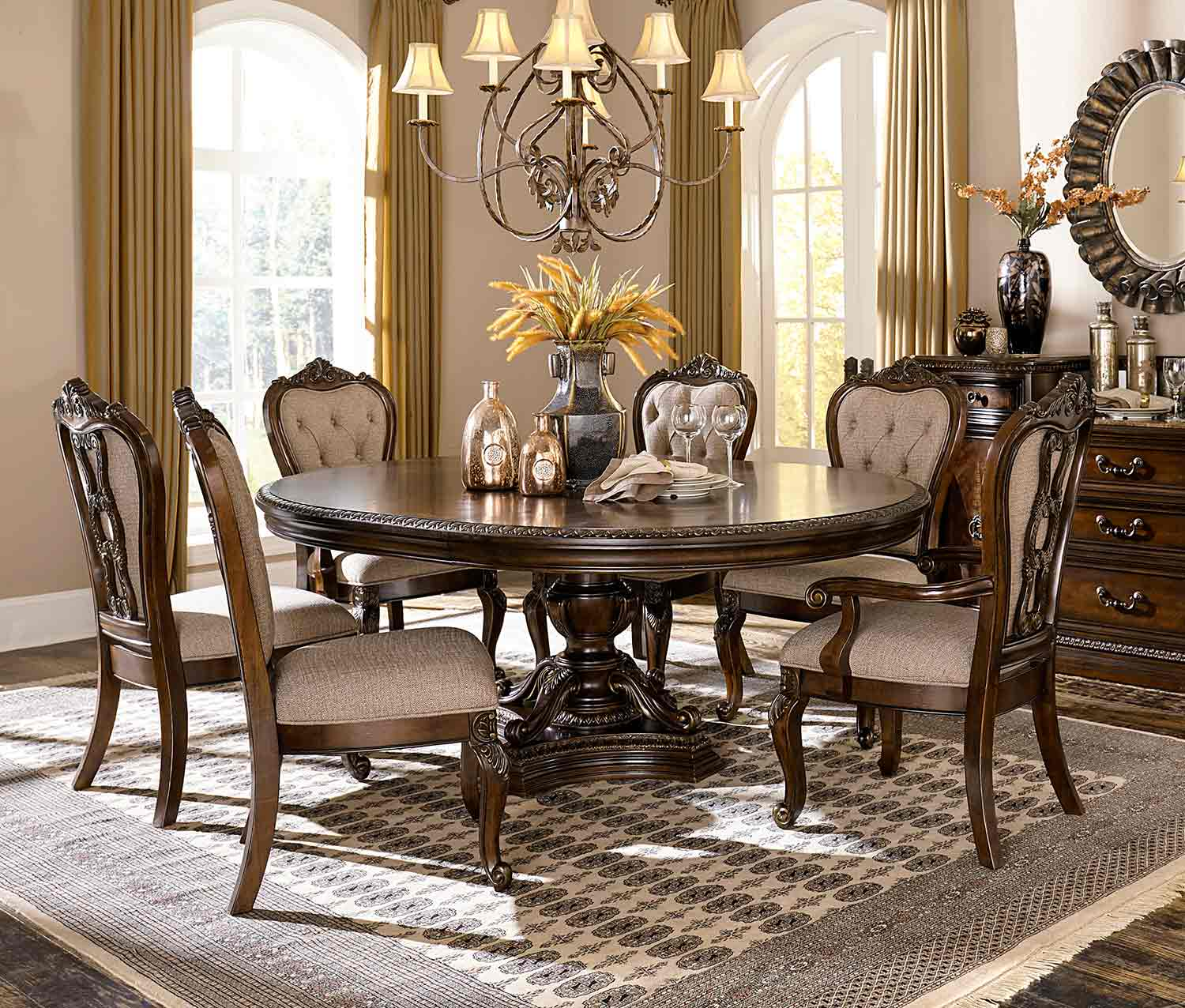 Homelegance Bonaventure Park Round/Oval Dining Set - Gold-Highlighted Cherry