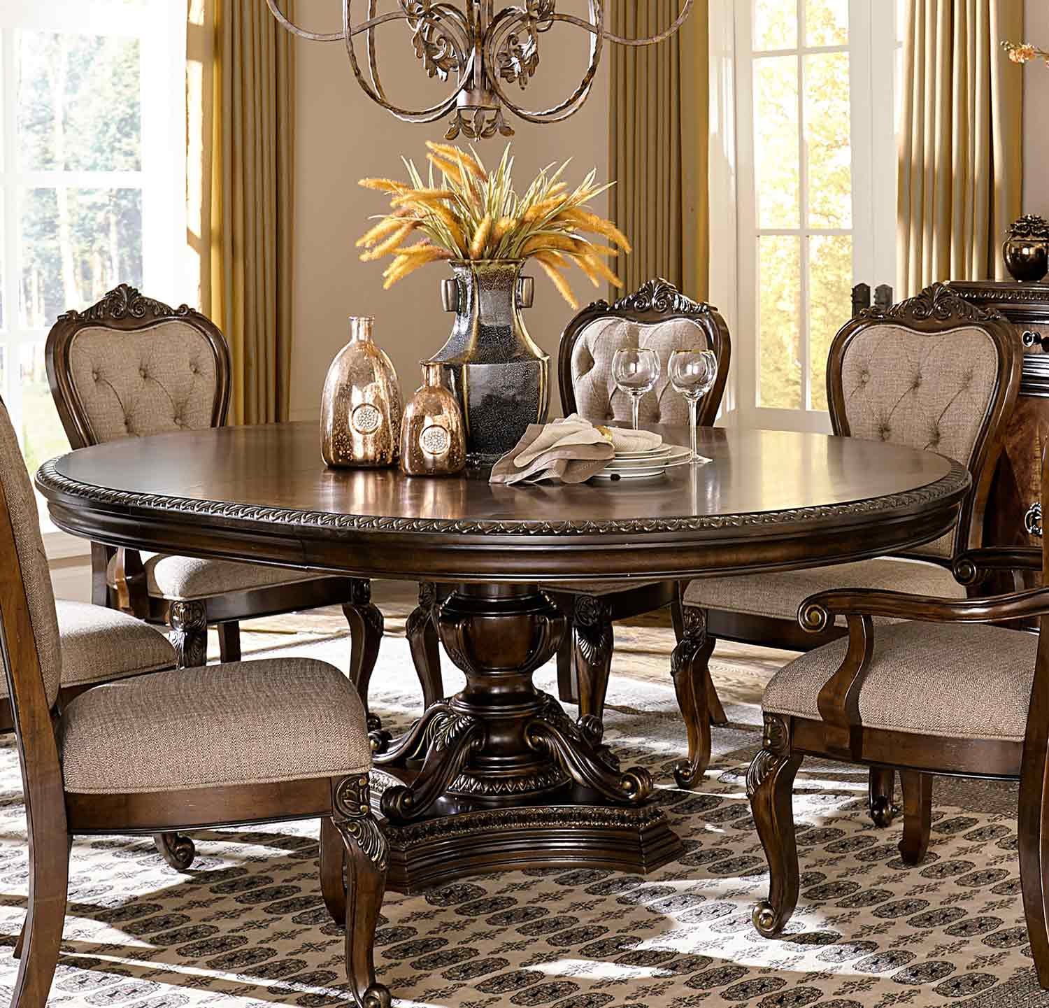 homelegance bonaventure park round oval dining set gold highlighted cherry 1935 76 din set. Black Bedroom Furniture Sets. Home Design Ideas