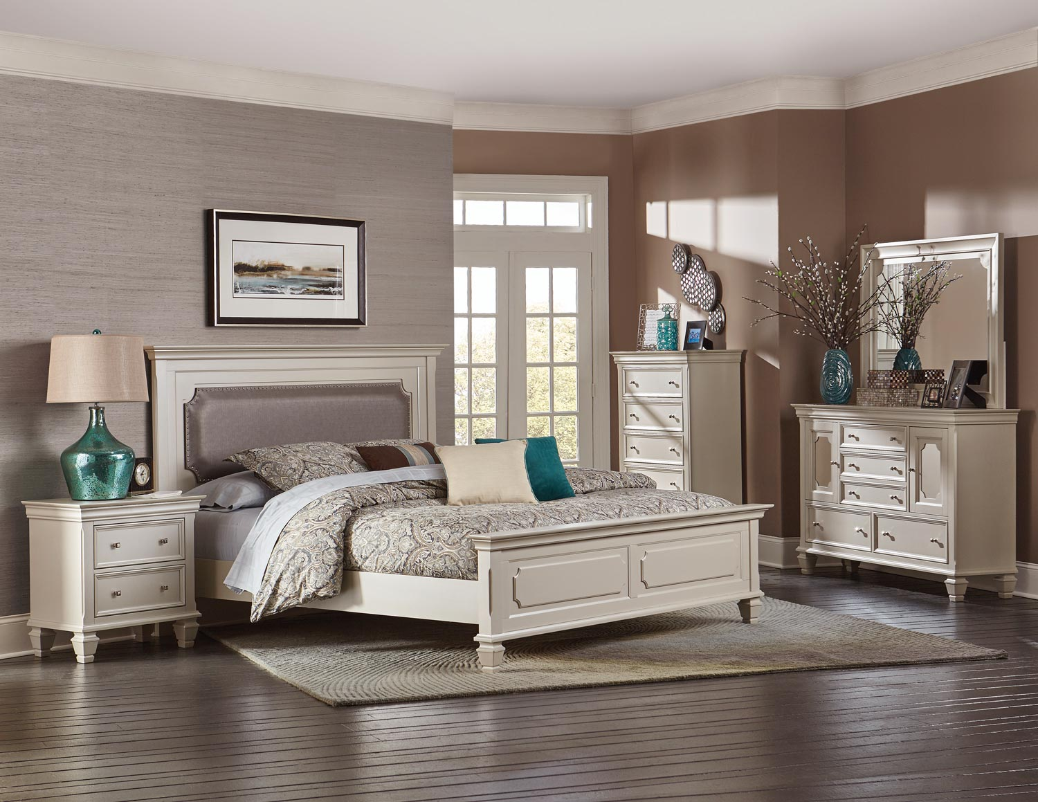 Homelegance Odette Upholstered Panel Bedroom Set - Champagne B1937-1 ...