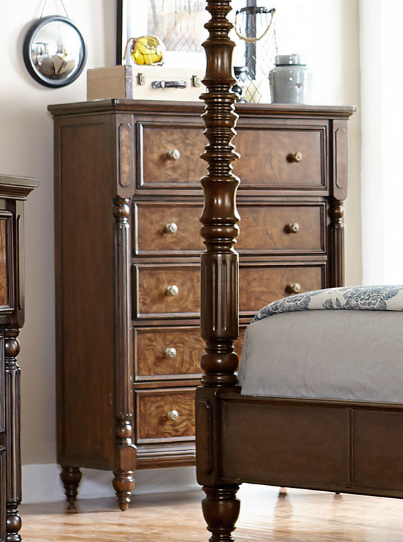 Homelegance Verlyn Chest - Cherry with Burl Accents