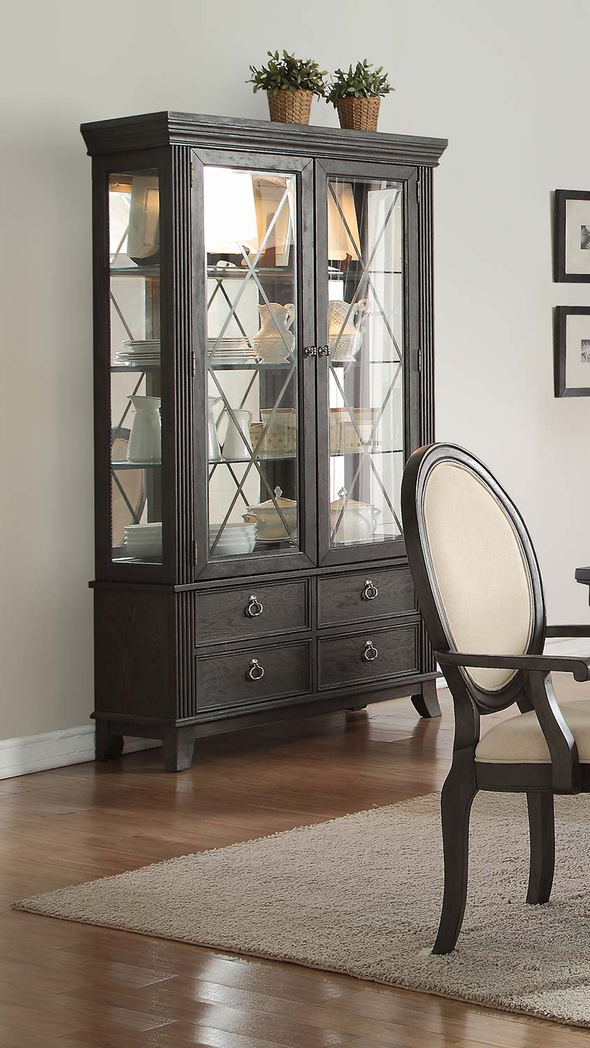 Homelegance Lindley China Cabinet - Walnut/Dusty Gray