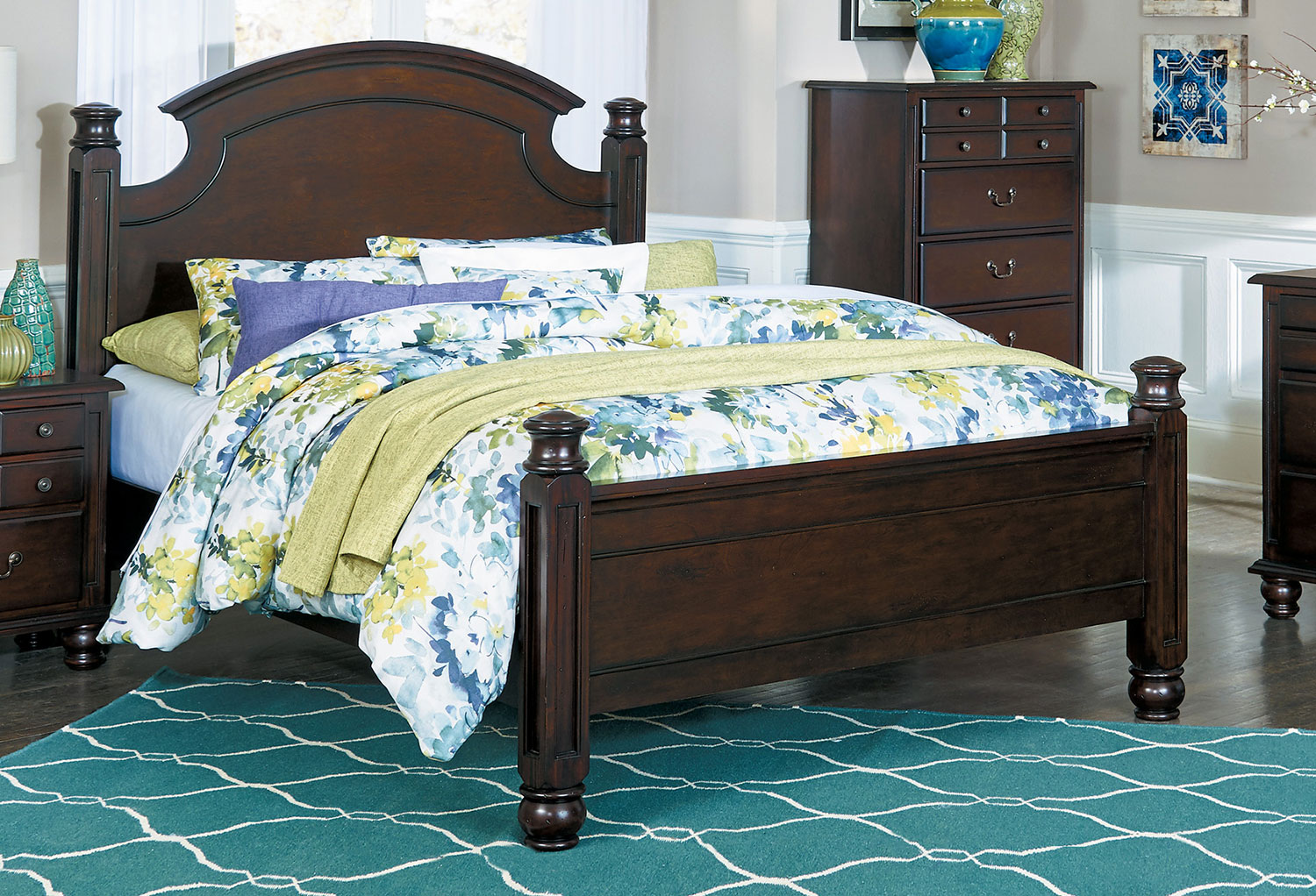 Homelegance Frederica Bed - Burnished Cherry
