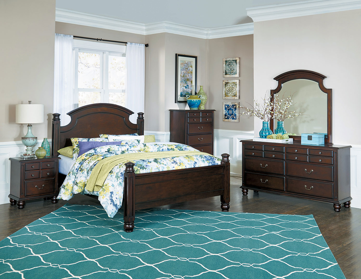 Homelegance Frederica Bedroom Set - Burnished Cherry