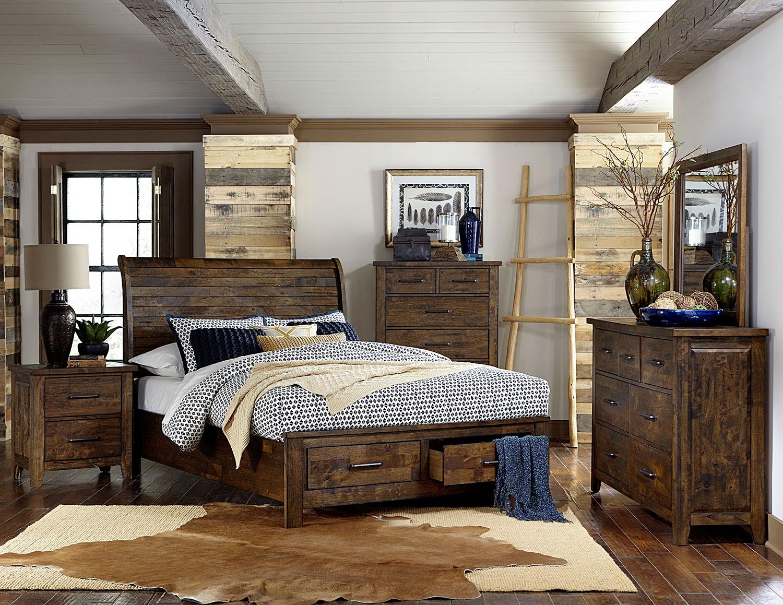 Homelegance Jerrick Sleigh Platform Storage Bedroom Set - Rustic Burnished Wood