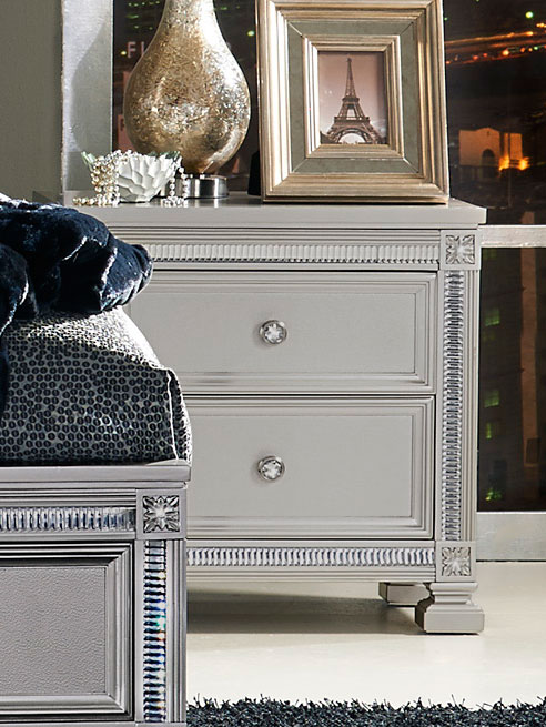 Homelegance Bevelle Night Stand - Silver