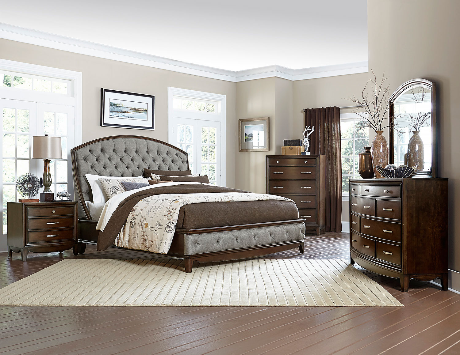 Homelegance Yorklyn Button Tufted Upholstered Sleigh Bedroom Set - Cherry
