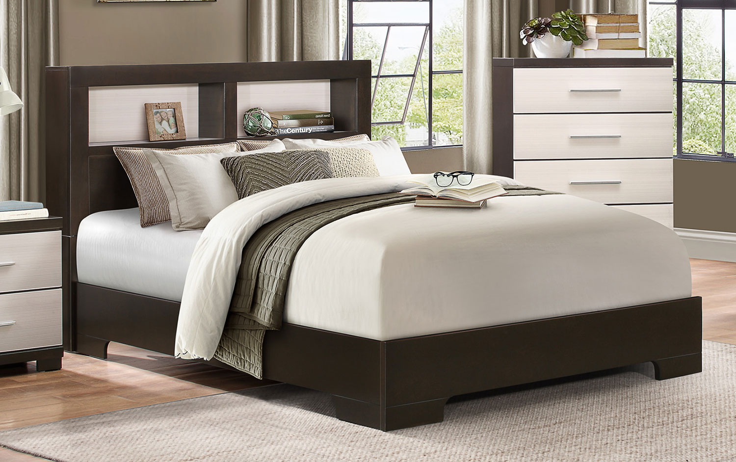 Homelegance Pell Low Profile Storage Bookcase Bed - Two-tone Espresso/White