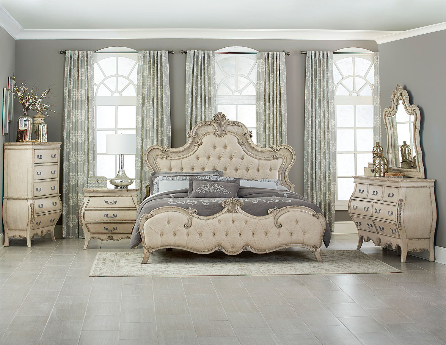Homelegance Elsmere Button Tufted Upholstered Bedroom Set - Antique Gray