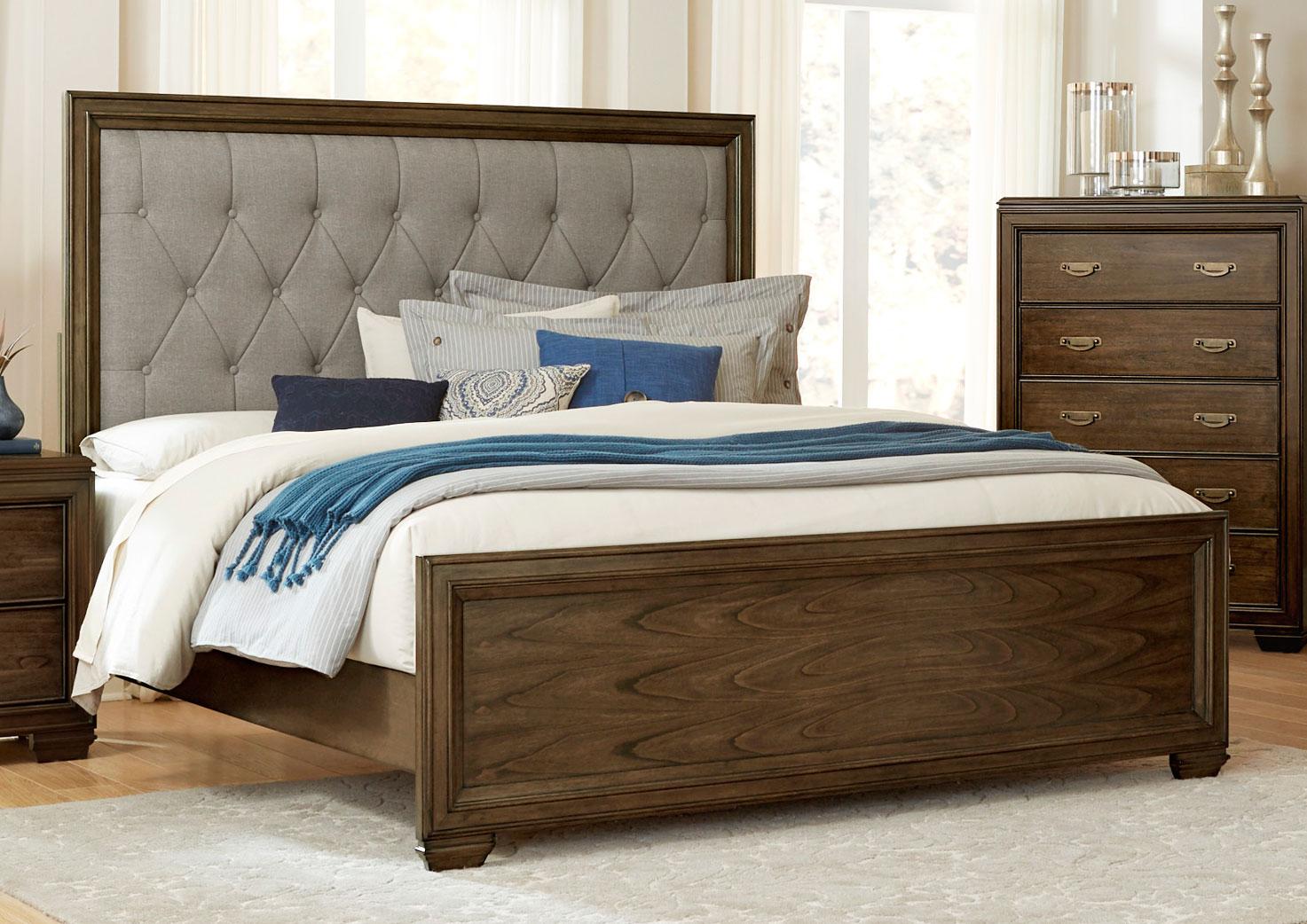 Homelegance Leavitt Button Tufted Upholstered Bed - Brown Cherry