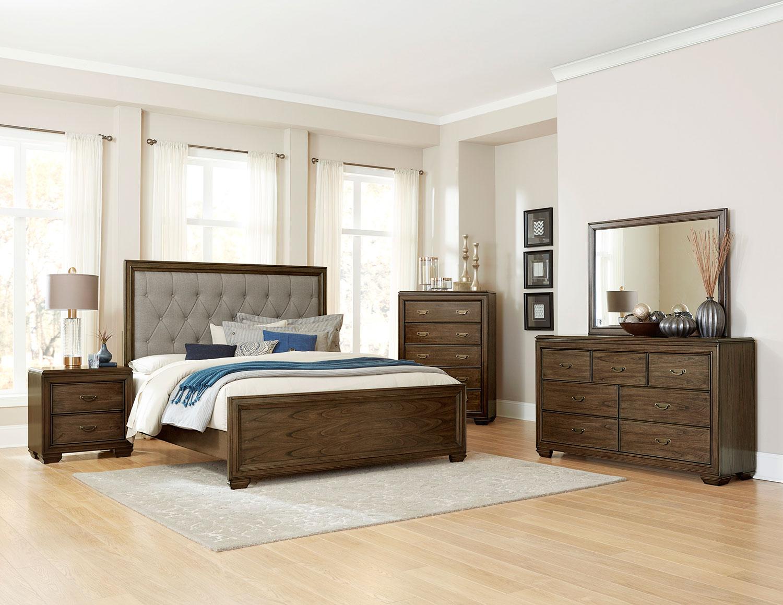 Homelegance Leavitt Button Tufted Upholstered Bedroom Set - Brown Cherry