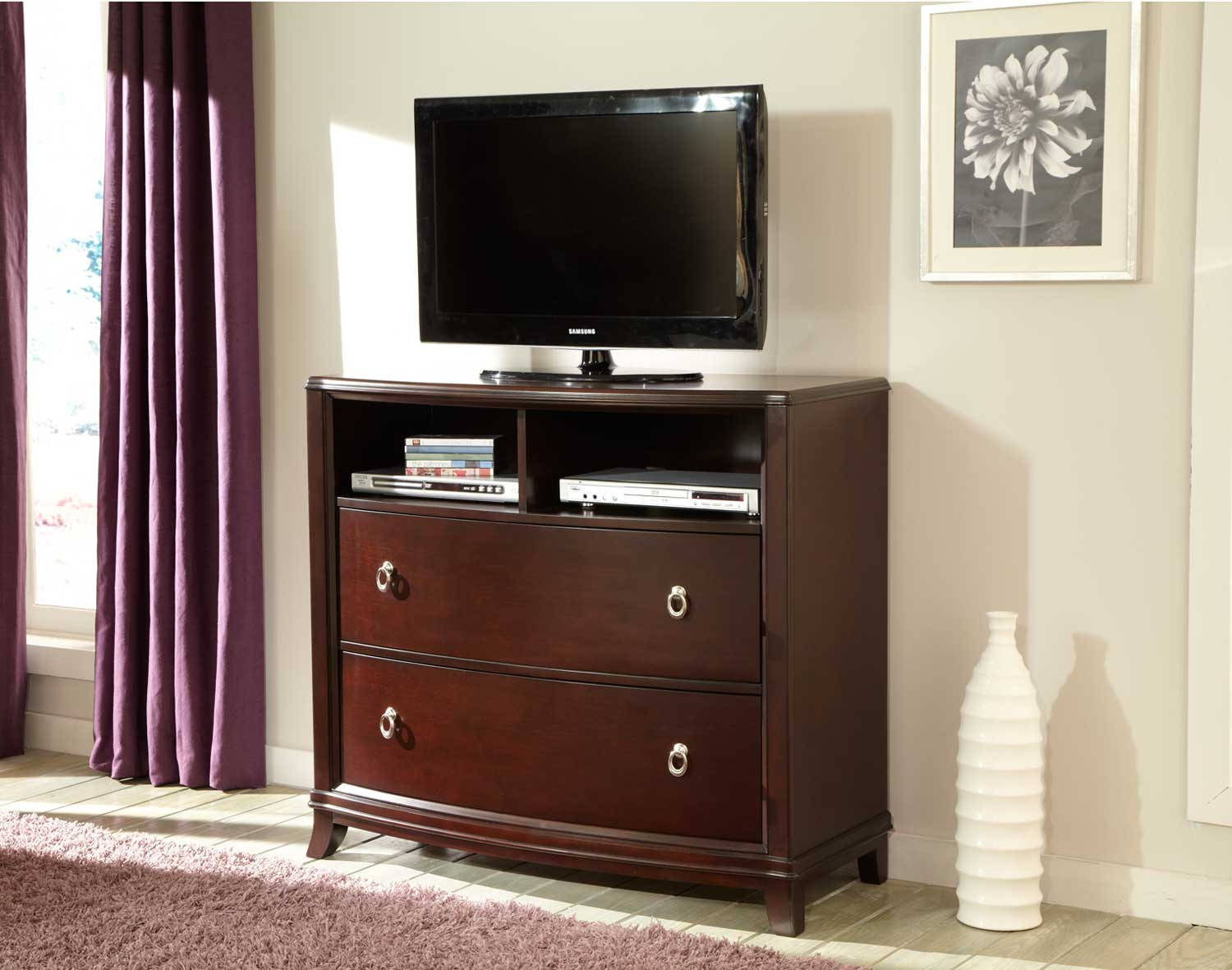 Homelegance Lund TV Chest - Rich Cherry