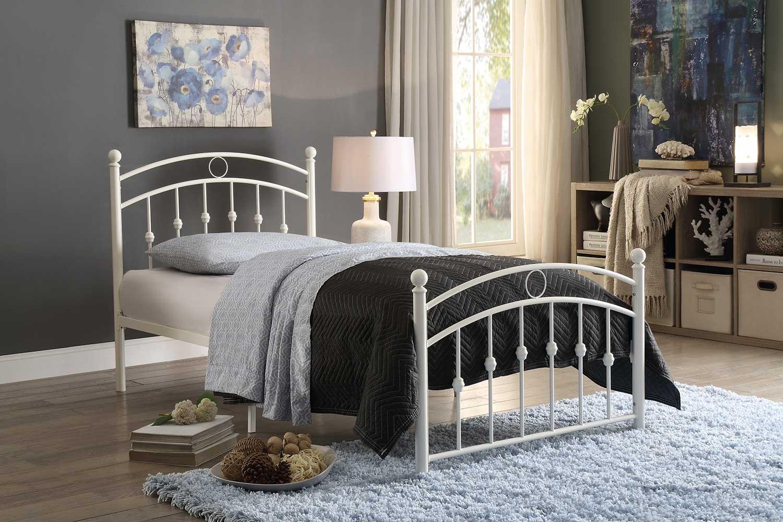 Homelegance Tiana Metal Platform Bed - White