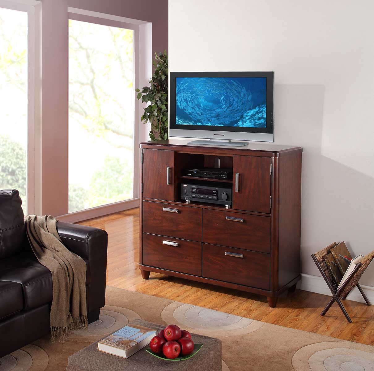 Homelegance Beaumont TV Chest - Brown Cherry